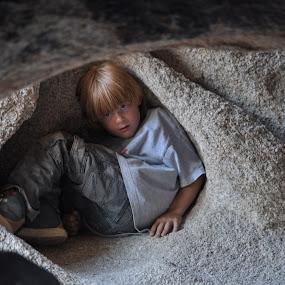 Cubby Cave by Savannah Eubanks - Babies & Children Child Portraits ( boulders, caves, boy,  )