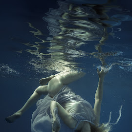 Gravity zero by Dmitry Laudin - People Fashion ( water, blue, underwater, dress, woman, swim, dive, innocence )