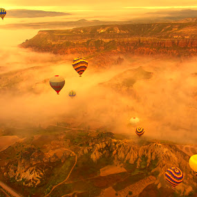 Floating over Cappadocia by Rafael Uy - Landscapes Travel ( hot air balloon, goreme, floating, sunrise, turkey, cappadocia )