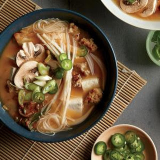 Brown Rice Noodle Bowls with Tofu, Pork, and Kimchi