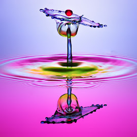 pink by Muhammad Berkati - Abstract Water Drops & Splashes ( water, water reflection, waterdrop, hsp )