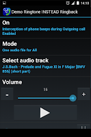 Screenshot of Demo Ringtone INSTEAD Ringback
