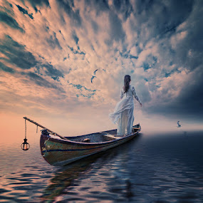 A secret revealed, will never be a secret by Caras Ionut - Digital Art Things ( pastel, ioana, wood, daughter, psd, tree, shadow, dramatic, read, light, photoshop, water, clouds, tutorials, pipes, boat, drums, manipulation, smoke, fire, bird, bubble, seagul, fly, floating, design )