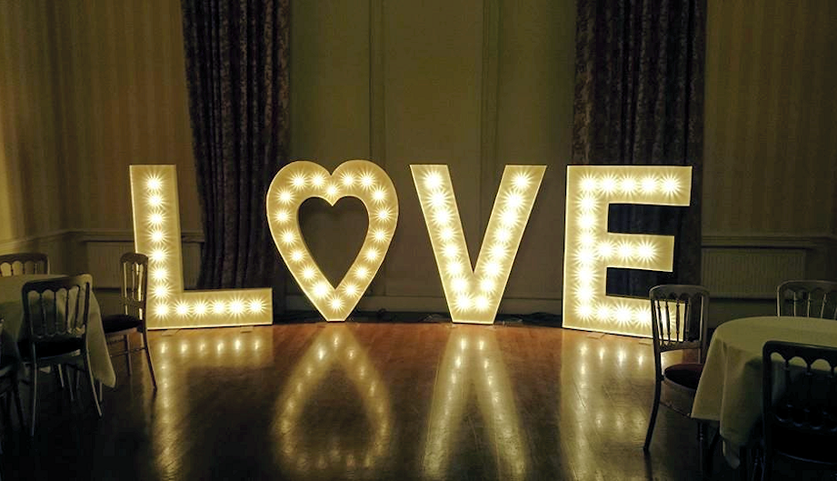 Light up love letters for sale and hire uk bluefin signs for Light letters for sale