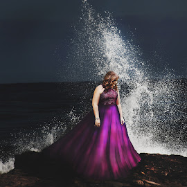 Crash by Kelly Lemaster - Digital Art People ( formal dress, splash, ocean, beach, beauty, long, pretty, girl, ocean shore, photo manipulation, dark, curls, manip, opinion, pink, rocks, follow, photoshop, water, purple, teen, beautiful, photoshop manip, manipulation, curly hair, formal, manipulated, dress, wave, night, photo manip )