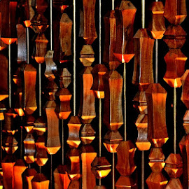 Shapes and Light by Francis Xavier Camilleri - Artistic Objects Other Objects ( vertical, patterns, light, wooden shapes, curtain )