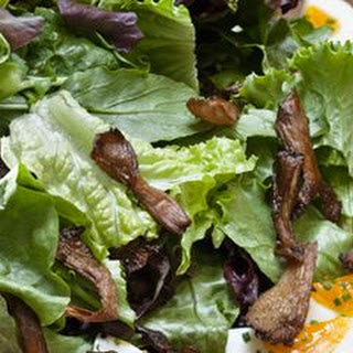 Arugula and Baby Lettuce Salad with Soft-Boiled Eggs and Roasted Oyster Mushrooms