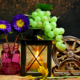 by Dipali S - Artistic Objects Still Life ( lantern, candle, wheel, blue, grapes, jar, coaster, flowers, light )