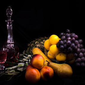 Fruit 1 by Juha Kauppila - Food & Drink Fruits & Vegetables ( wine, fruit, red, grapes, yellow, pineapple, black, pear )