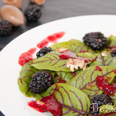 Sorrel Salad with Raspberry Dressing and Candied Pecans