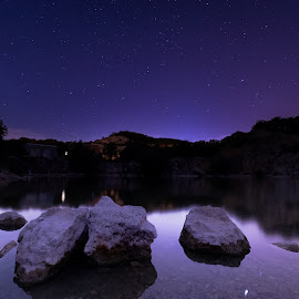 Night Quarry by Štěpán Florus - Landscapes Starscapes ( view, color, natural, reflection, nature, night, dark, nightscape, purple, stars, water, landscape )