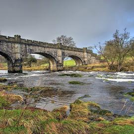 bridge near bolton abbey, north yorkshire, england by Keith's Captures - Buildings & Architecture Bridges & Suspended Structures ( 20mm, water, clouds, full frame, uk, waterscape, grass, stone, north, landscape, north yorkshire, england, winter, sky, bolton abbey, d750, yorkshire, wide angle, trees, bridge, nikon, rocks, river )