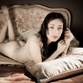 French Bed Sweet by Ian Cartwright - Nudes & Boudoir Boudoir ( erotic, chair, art nude, nude, lingerie, buxton, photographer ian cartwright caramel photography, woman, bed, boudoir, naked, bedroom )