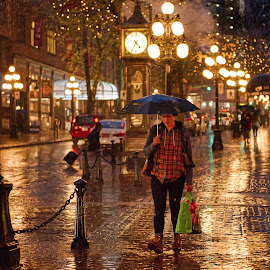 Streets of Gold by Garry Dosa - City,  Street & Park  Night ( rainy, autumn, umbrella, fall, outdoors, streetscape, wet, people, golden, weathered )