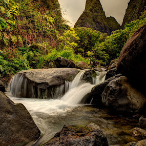 Iao Valley Needle by Tom Cuccio - Nature Up Close Water ( maui, stream, iao valley, landscape, hawaii )