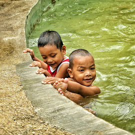 Friend by Wing Yin Cheong - Babies & Children Children Candids ( water, friends, pool, green, asia, wet, philippines, boy )
