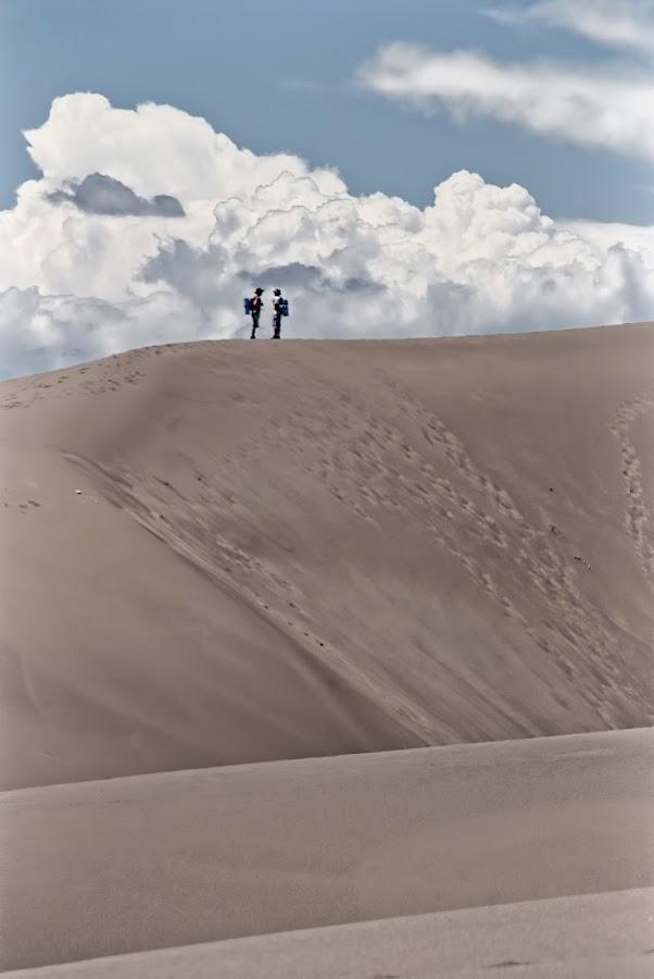 Dune Walkers by Jeremie Schatz - Landscapes Deserts ( clouds, sand, dunes, desert, sky, landscape )