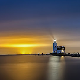 The Horse by Wim Denijs - Landscapes Waterscapes ( water, waterscape, holland, lighthouse, night )