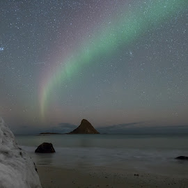 Aurora beach by Benny Høynes - Landscapes Waterscapes ( canon, northern lights, aurora borealis, beach, island, norway )