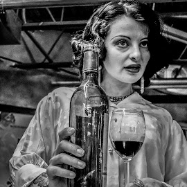 Excuse Me! by James McAlice - Food & Drink Alcohol & Drinks ( wine, black and white, woman, pinup, people,  )