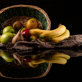 Basket and fruits by Cristobal Garciaferro Rubio - Food & Drink Fruits & Vegetables ( banana, apple, bananas, green apples, fruits, basket, mantle, reflections, apples, pears, pear )