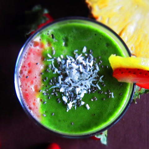 Layered Pineapple Strawberry Spinach Banana Smoothie
