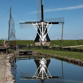 Windmill by Twan Konings - Buildings & Architecture Statues & Monuments ( water, reflection, sky, holland, zuiderzee, netherlands, windmill )