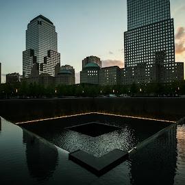 Ground Zero Memorial by Sooraj Sundararajan - Buildings & Architecture Statues & Monuments ( wtc, memorial, world trade center, fountain, ground zero )
