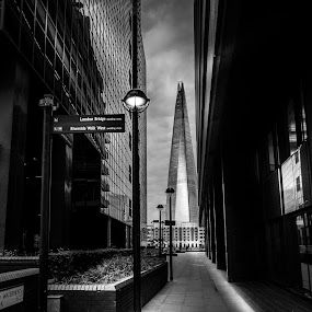 The SHARD from the other side of the Thames by Roger Hamblok - Buildings & Architecture Architectural Detail ( skyline, building, b&w, streetlight, black and white, corridor, cityscape, street lamp, alley, lantern, blackandwhite, shard, skyscraper, london, thames, london bridge, riverside, glass, dark, high, darkness, evening )