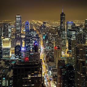 Chicago by Jim Hamel - City,  Street & Park  Skylines ( skyline, illinois, night, chicago, city )