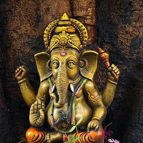 indian god ganesha by Infected Gallery - Products & Objects Signs ( expression, statue, old, god, under the tree, worship, ganesha )