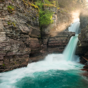 St Mary's Falls by Walter Hsiao - Landscapes Waterscapes ( sunbeams, montana, waterfall, st mary's falls, glacier national park )