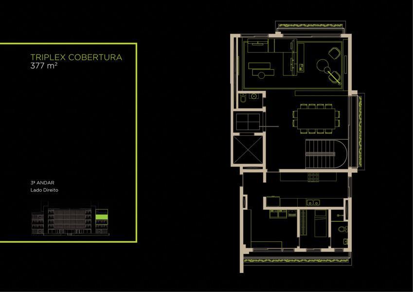 Apto Cobertura Triplex (31B) - 377 m² - Piso Intermediário