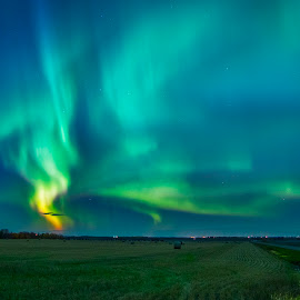 Dance of Light by Shauna M. Jackson - Landscapes Prairies, Meadows & Fields ( field, night photography, alberta, aurora borealis, bails, dancing lights, nightscape,  )