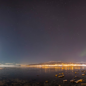 Sortland city by Benny Høynes - City,  Street & Park  Night ( canon, moon, stars, aurora borealis, sortand, frosted )