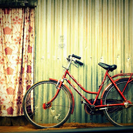On standby until the wheels get rolling by Ananda Chatterjee - Transportation Bicycles ( abstract, object, bicycle )