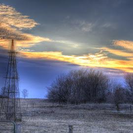 Farm Scene by Jackie Eatinger - Landscapes Prairies, Meadows & Fields