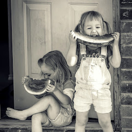 watermelon by Anya Spackman - People Family ( friends, black and white, family, food, children,  )