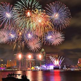 Singapore's National Day Parade  by Ng Chee Seng - City,  Street & Park  Vistas ( lights, national day, fireworks, marina bay, singapore )