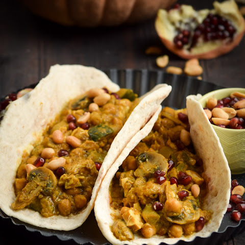 Peanut Butter Pumpkin Yellow Curry Pita Tacos