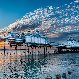 Sunrise at Eastbourne Airbourne Sunday 2016 by Anthony P Morris - Buildings & Architecture Bridges & Suspended Structures ( dawn, eastbourne pier, anthony morris, pier, sea, sunrise, sun, eastbourne )