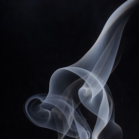 Billowing Smoke  by Kate Anthony - Abstract Patterns ( black background, contrast, billowing, smoke photography, fine art photography, smoke, shadows )