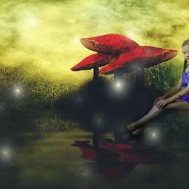 pixie hallow by Elizabeth Robinette - Digital Art People ( fantasy, fireflies, magic, girl, digital art, fairy,  )