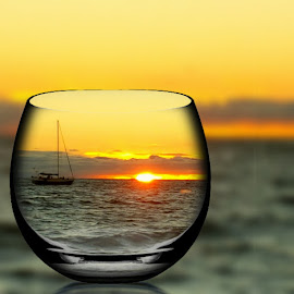 Last Sunset of 2016 by Ms Lyons Photography - Digital Art Places ( sunset, glass, ocean, ocean view )