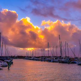 Storm Clouds. by Keith Walmsley - Landscapes Sunsets & Sunrises ( victoria, coast, reflection, sunset, australia, clouds, boats, water, landscape )