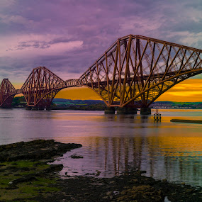Forth Bridge by Tommy  Cochrane - Buildings & Architecture Bridges & Suspended Structures ( forth, solstice. edinburgh, scotland, sunset, rail, summer, bridge )