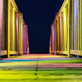 Colorful walk to the Beach by Teresa Solesbee - Uncategorized All Uncategorized ( beach, night, walkway, boardwalk, lights, colors )