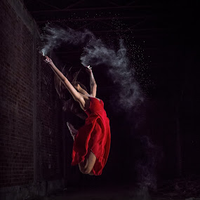 Scarlet Witch by Vassilios Zacharitsev - People Fine Art ( red, female, dust, dance, leap, dancer )