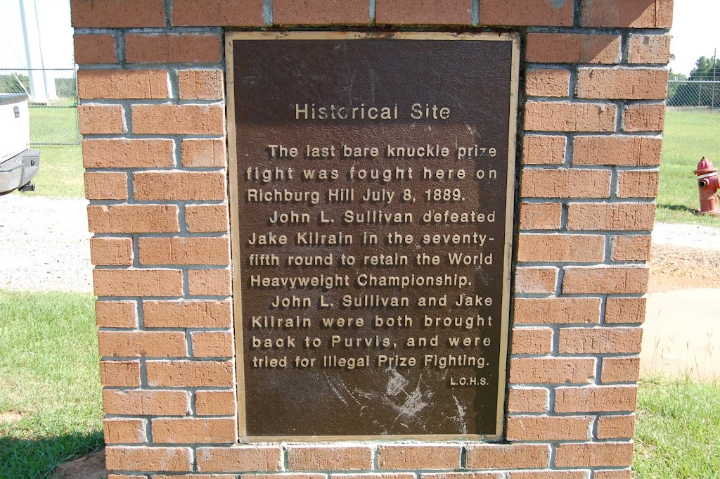 Historical Site The last bare knuckle prize fight was fought here on Richburg Hill July 8, 1889. John L. Sullivan defeated Jake Kilrain in the seventy fifth round to retain the World Heavyweight ...