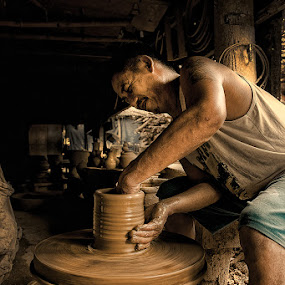 The Jar Maker by Eric Montalban - People Portraits of Men ( work, vigan, jar maker, travel, men, people, philippines, portrait )